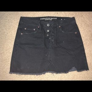 American eagle high waisted black jean skirt